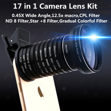 Universal Clip 17 in 1 Camera Lens Kit for iPhone Samsung Xiaomi Smart phones Lenses Macro WideAngle CPL ND8 Star Gradual Lens