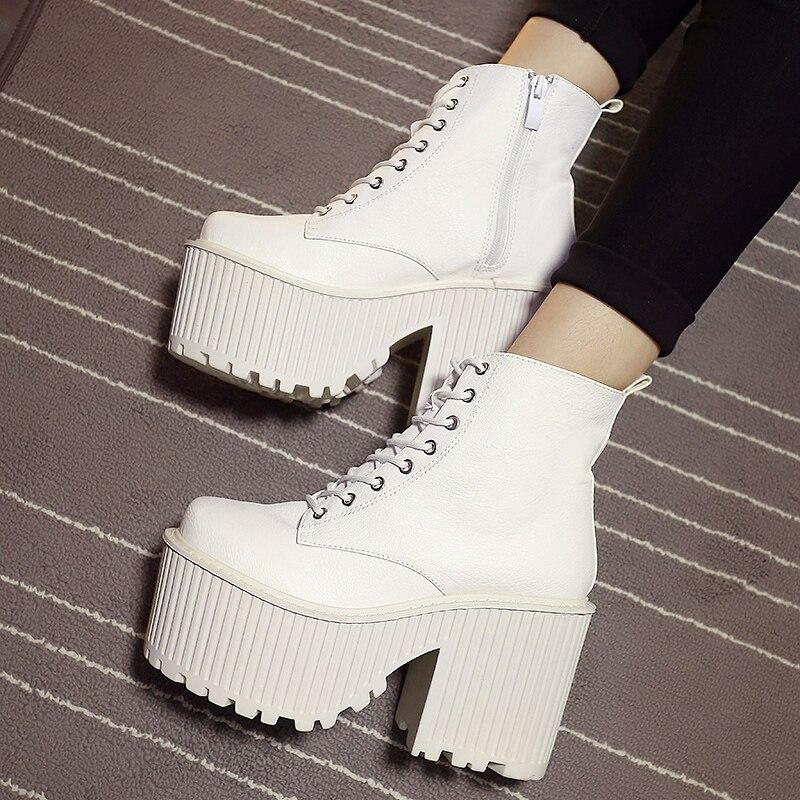 US $34.36 31% OFF|Damen Stiefel Winter Mode Plattform High Heel Stiefel Damen Stiefeletten Punk Rock Motorrad Stiefel Schwarz Plattform Schuhe in