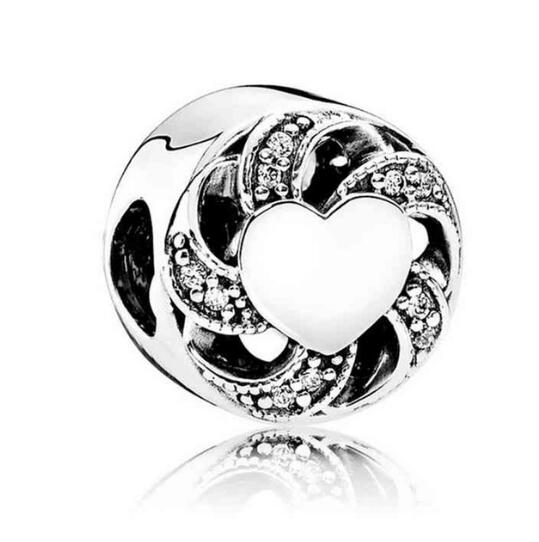 100% 925 Sterling Silver Beads Ribbon Heart Charm With Cz Fit Original Pandora Charms Bracelet & Necklace Diy Women Jewelry