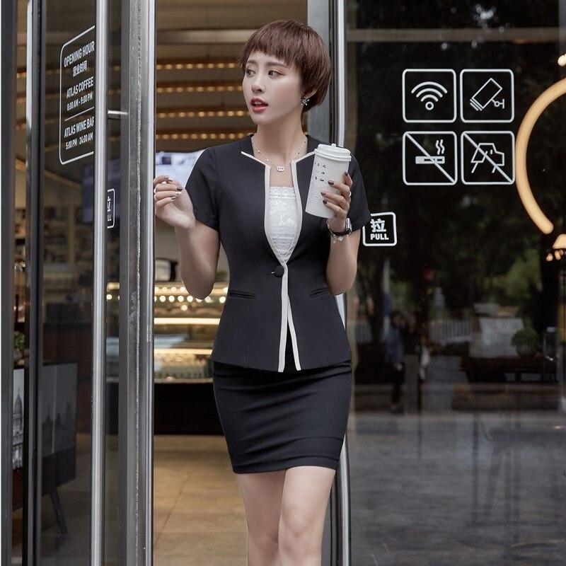 e9b65bc934a Women Business Suits 2 Piece Skirt and Top Sets Blue Jacket Short Sleeve  Office Ladies Work Wear Beauty Salon UniformsUSD 36.87 set
