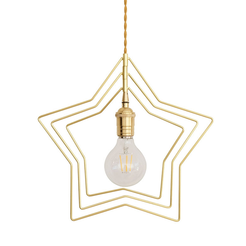 Retro Hanging Gold Star Pendant Light Vintage Brass Star Pendant Lamp Home Lights Suspension Lighting Fixture Restaurant Lights brass half round ball shade pendant light led vintage copper wooden lighting fixture brass wood fabric wire pendant lamp