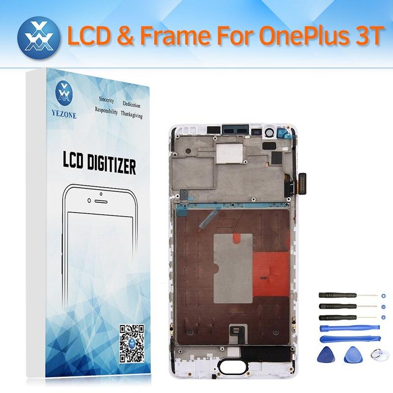 D'origine Écran LCD avec Cadre Assemblée Complet pour OnePlus 3 t A3010 LCD Affichage Tactile Digitizer Remplacement Noir Blanc + outils