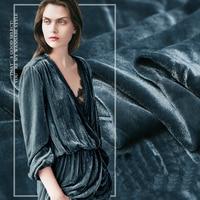 Teal Series Fashion Velour Dress silk velvet fabric