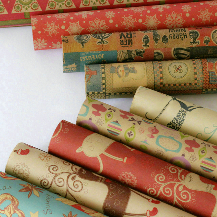 10pcs/lot 50*70cm Vintage Prints Craft Paper Christmas Kraft Wrapping Paper Roll Reindeer Brown Back Kraft New Year Gift Packing