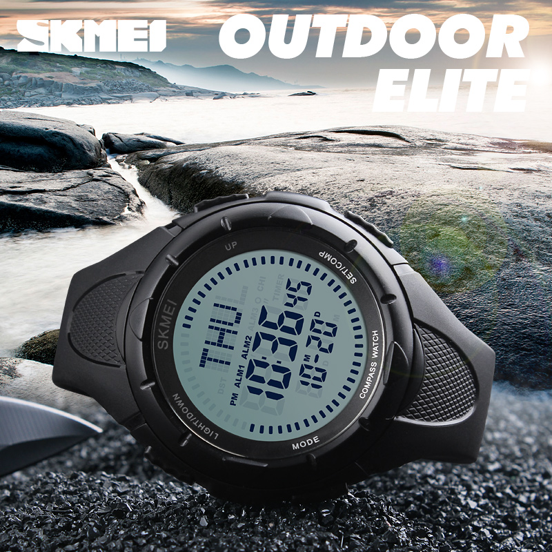 Compass Digital Watch Men Waterproof Countdown Alarm Sports Watches SKMEI Brand Fashion Outdoor Multifunction LED Military Watch outdoor sports watches men skmei brand countdown led men s digital watch altimeter pressure compass thermometer reloj hombre