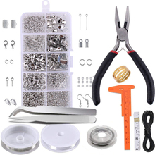 DIY Jewelry Making Kit With Box Beading Tweezers Wires Lobster Clasps Repair Tool Craft Starter Caliper Pliers Findings