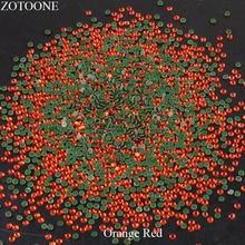 Crystal HotFix Stones For Clothing Iron On FlatBack Glass Orange Red Rhinestones Nail Art Decorations Strass Applique E