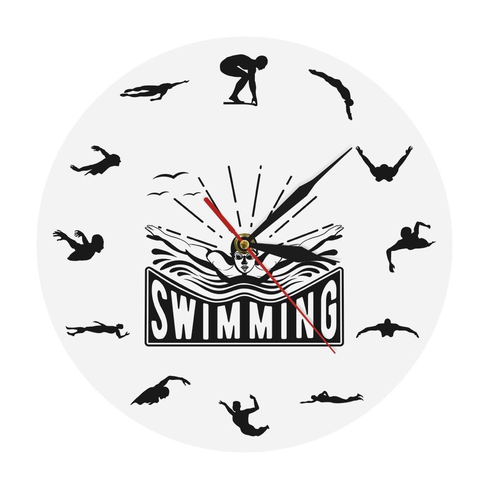Sport Art Design natation horloge murale Voyage flottant plongée sous-marine nageur décor à la maison salon horloge murale natation entraîneur cadeau