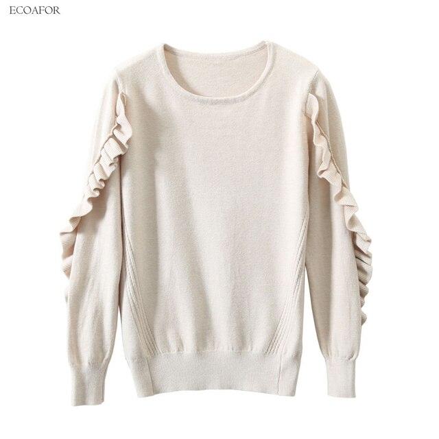 Butterfly Sleeve Sweater Women Ruffle Pullover Office Lady Retro Knitwear  Female Solid Color Trim Jumper Vintage