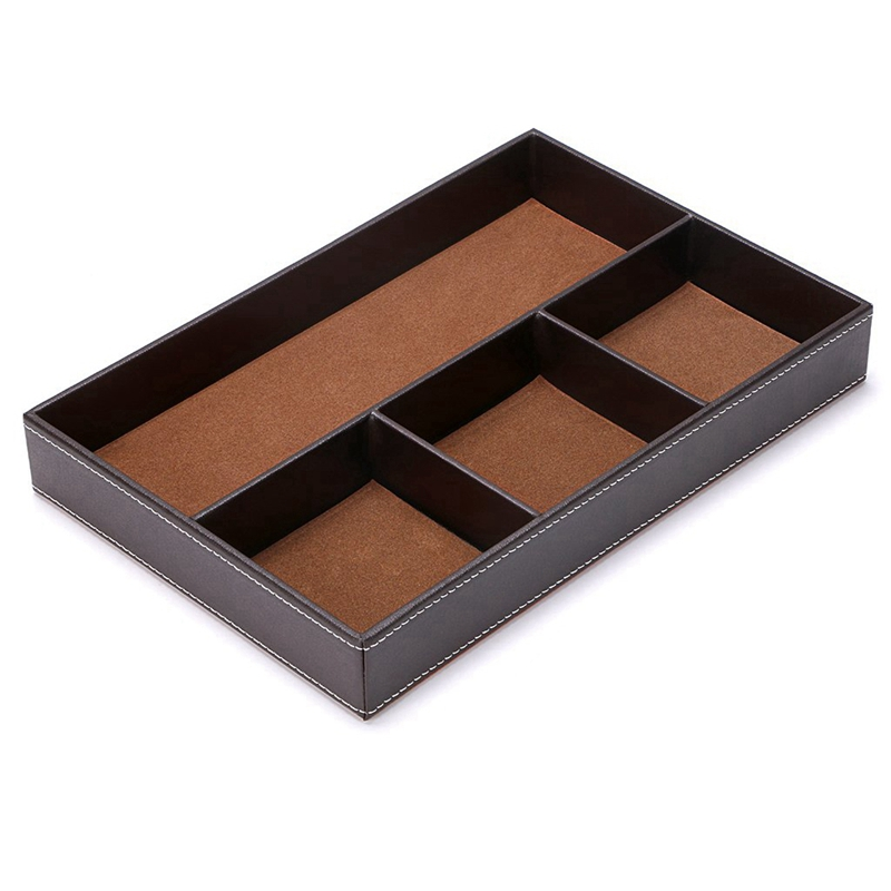 4 Slots Desk Drawer Organizer, Pu Leather Drawer Storage Organizer Divider For Office Desk Supplies Value Collection And Acces