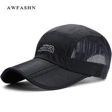 Outdoor mesh baseball caps collapsible hats long visor vintage man woman  Breathable black bone shades summer e3c405c7dca2