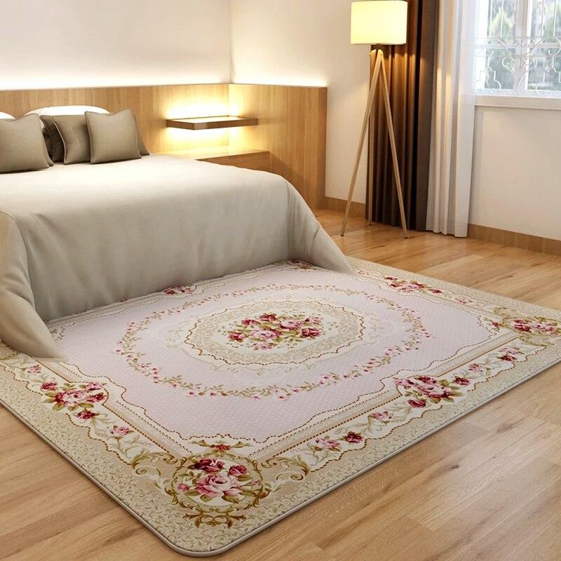 200X240 CM pastorale grands tapis pour salon moderne Rose fleur chambre chevet Europe tapis et tapis canapé Table princesse tapis - 5