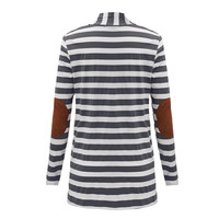 ZANZEA Fashion 2018 Autumn Outerwear Women Long Sleeve Striped Printed Cardigan Casual Elbow Patchwork Knitted Sweater Plus Size 4