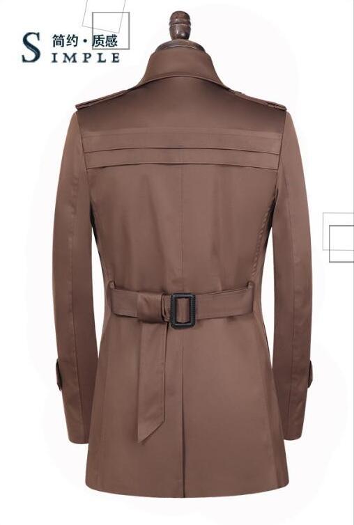 Φτηνές khaki άνοιξη διπλό breasted trench παλτό - Ανδρικός ρουχισμός - Φωτογραφία 5
