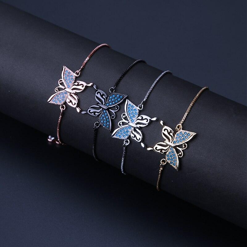 1 St Micro Pave Vlinder Zirconia Crystal Cz Armbanden Met Verstelbare Slide Bead Voor Vrouwen Diy Gift Armband Om Familie