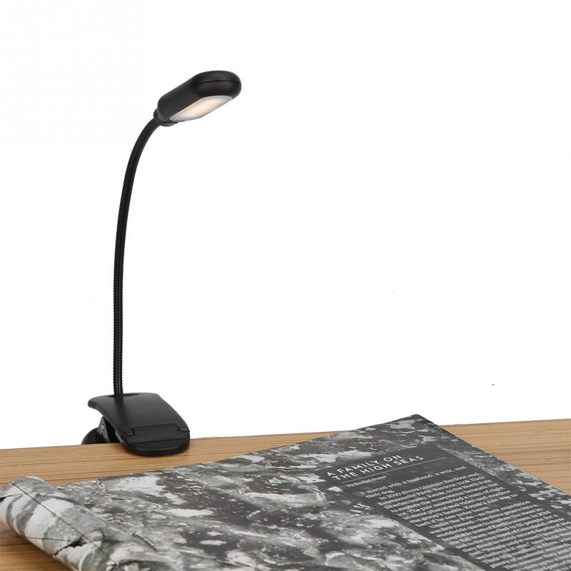 Clamp Desk Lamp Battery Powered 5LED Clip On Lamp with 3 Positions Adjustable Light Tabl ...