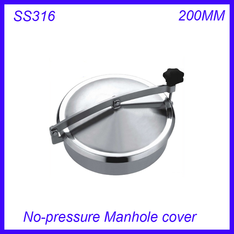 New arrival 200mm SS316L Circular manhole cover NO- pressure Round tank manway door Height:100mm new arrival 450mm ss304 circular manhole cover with pressure round tank manway door full view glass cover with good connection