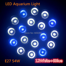 Drop / Free Shipping E27 54W with 12white 6blue LED Aquarium Light Bulb For Coral reefs and aquarium fishes wholesale price