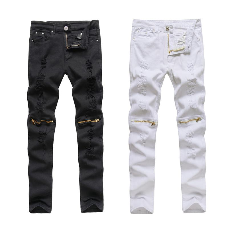 Men Autumn Ripped Knee Hole Zipper Jeans Casual Slim Stretchy Worn Hole Long Pants Trousers Men Slim Skinny Destroyed Torn Pants