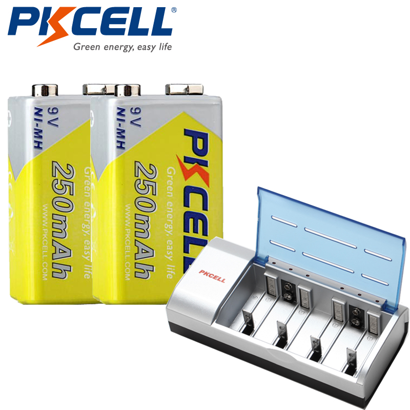 1Pcs*PKCELL 8182 9V Battery Charger and 2Pcs*NI-MH 250Mah 6F22 9V rechargeable Battery