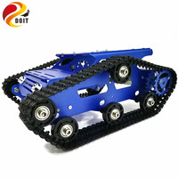 DOIT Tracked Tank Chassis YP100 with Aluminum Alloy Frame 12V High Power Motor Plastic Tracks for DIY Robot Project Design RC