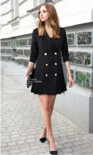 M large size new womens suit collar long sleeve double-breasted pleated hem dress
