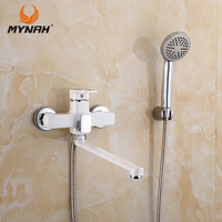 MYNAH Russia Free Shipping Bathroom Shower Faucets White Bathtub Faucet Spa Waterfall With Hand Shower Sets Shower Faucet M2249J