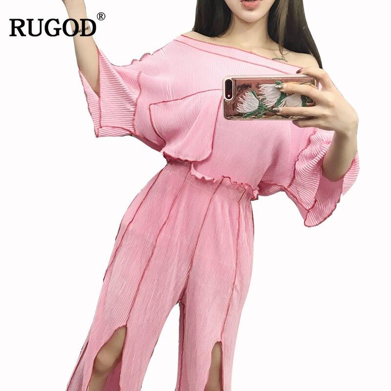 RUGOD 2018 Off Shoulder Chiffon Blouse and Split Pants Suit Women Fashion Pockets Design 2 Two Piece Sets Casual Long Pants Suit