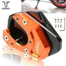 Motorcycle Accessories CNC Kickstand Foot Side Stand Support Plate Pad Enlarge Extension For KTM 990 Adventure LOGO 2006-2012 motorcycle cnc kickstand foot side stand extension pad support plate enlarge stand for ktm 950 supermoto 2006 2007 with logo