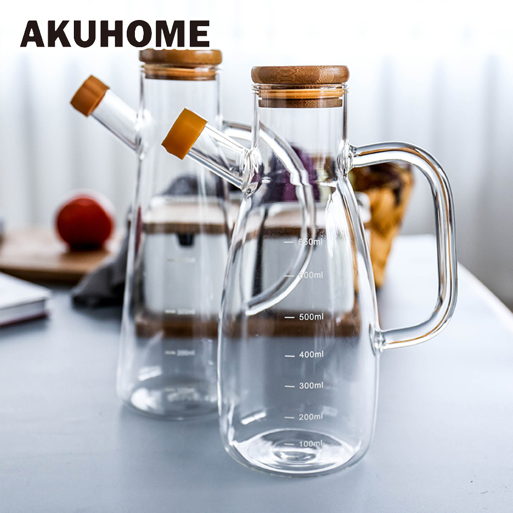 Transparent Glass Oil Bottle With Handle Scale Heat-resistant Lecythus Kitchen Tools Soy Vinegar Sauce Container