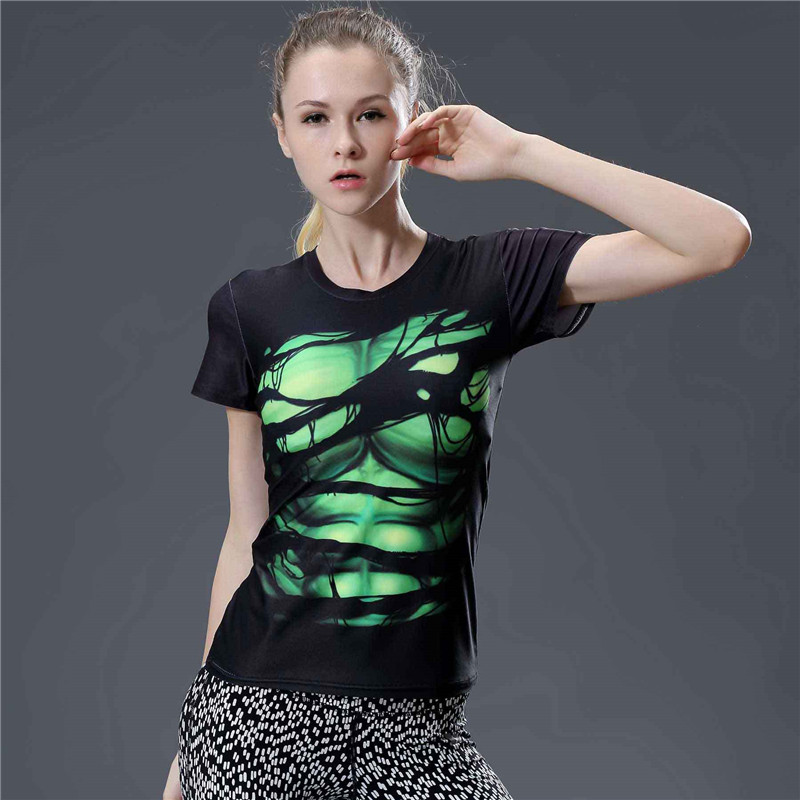 5  Fashion Fitness T Shirt Women Summer Tops Short Sleeve Tee Shirt Femme Tight Compression Shirt Tshirt Women Camisetas Mujer
