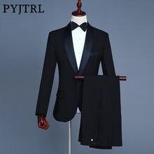 PYJTRL Marque Hommes Châle Revers Blanc Noir Deux-Pièce Veste Pantalon de  Costume Mince de Soirée Party Stage Show Performance h. e2a645504ef
