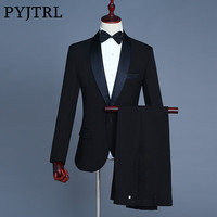 PYJTRL Brand Men S Silver Gray Black Shiny Two Piece Jacket Pants Suit Slim Evening Party