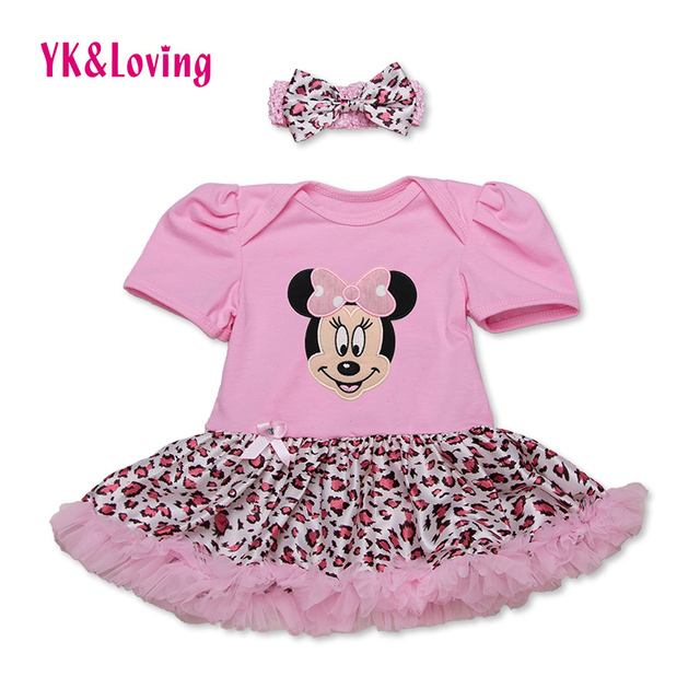 Hot Sale 3Pcs Minnie Mouse Baby Girl Clothes Bodysuit with Tutu Dress Outfit Set Clothing Bodysuit+Shoes+Headwear Free Shipping