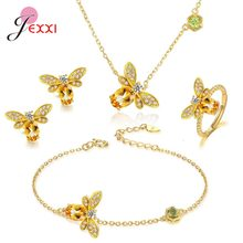 Hot Selling 925 Sterling Silver Full Jewelry Sets For Wedding Engagement Party Gifts Noble Style Gold Women Fashion Jewelry(China)