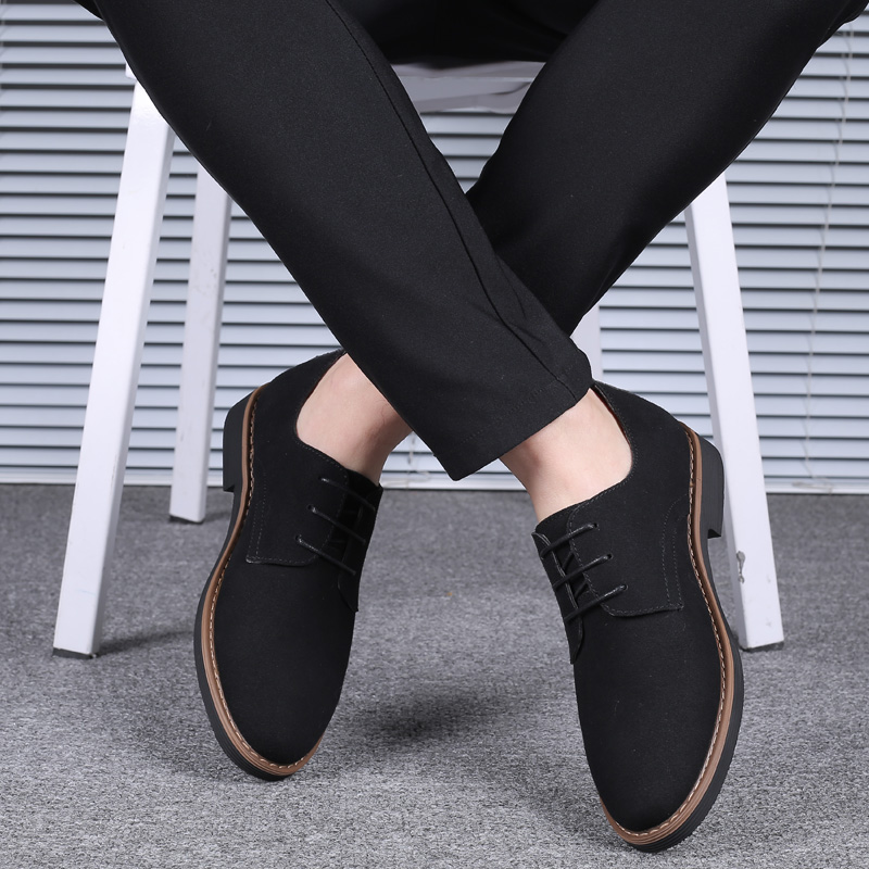 2019 High Quality Suede Leather Soft Shoes Men Loafers Oxfords Casual Male Formal Shoes Spring Lace-Up Style Men's Shoes