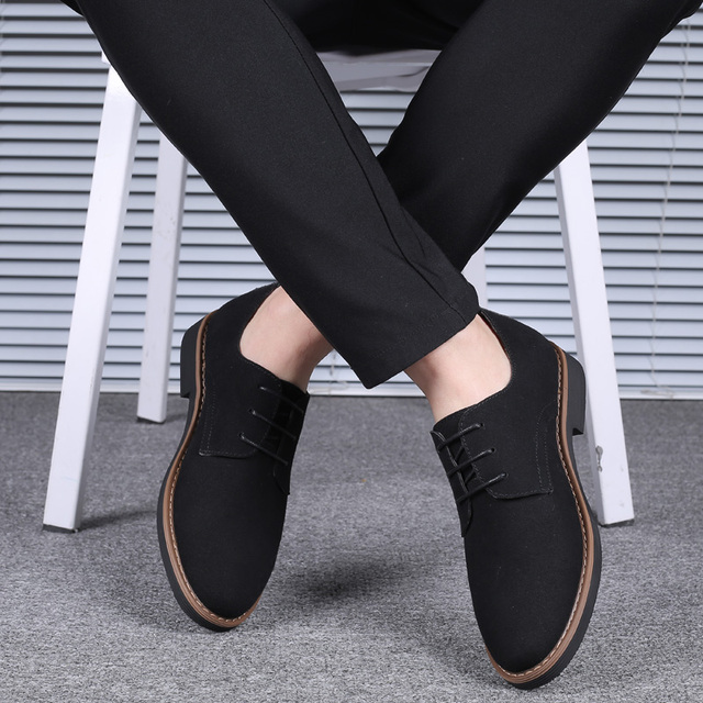 2020 High Quality Suede Leather Soft Shoes Men Loafers Oxfords Casual Male Formal Shoes Spring Lace Up Style Mens Shoes
