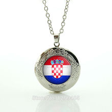 Hot-Selling Brand Football competition Class Collection locket pendant Croatia football team lass dome Choker Necklace N497(China)