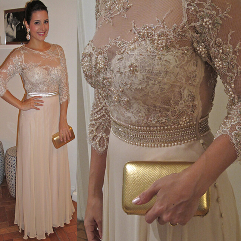 Chiffon Long Mother Of The Bride Dresses Sheer Jewel Neck 3 4 Long Sleeve Pearls Sash