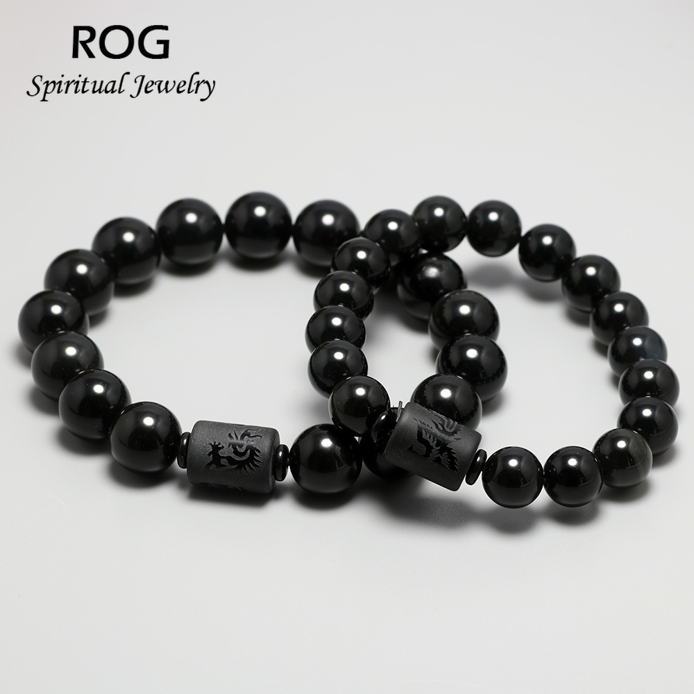 Genuine Natural Stone Black Obsidian Bracelets For Men And Women Dragon Phoenix Totem Engrave Crystal Feng Shui Jewelry in Strand Bracelets from Jewelry Accessories