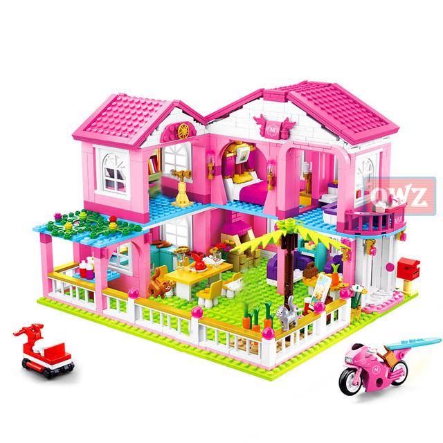 New City Girl Friends Big Garden Villa Model Building Blocks Brick Technic Playmobil Toys For Children Gifts