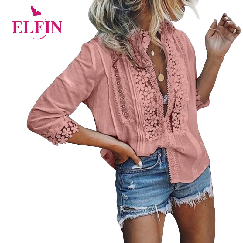 Plus Size Women Blouse Shirt Beach Long Sleeve Lace Blusas Femininas Solid Spring Womens Tops And Blouses Boho 2019 SJ1913R