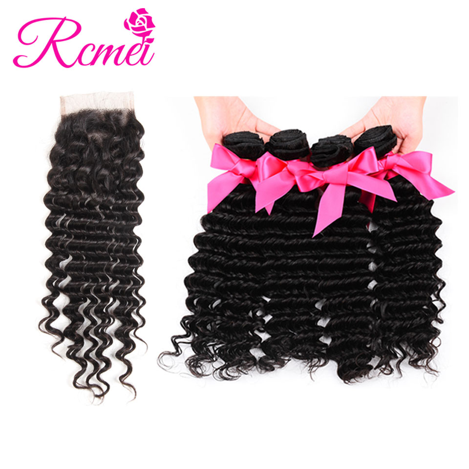 Rcmei Hair 4*4 Lace Closure With Bundles Brazilian Deep Wave Human Hair Bundles With Lace Closure Non-Remy Natural Color Weft