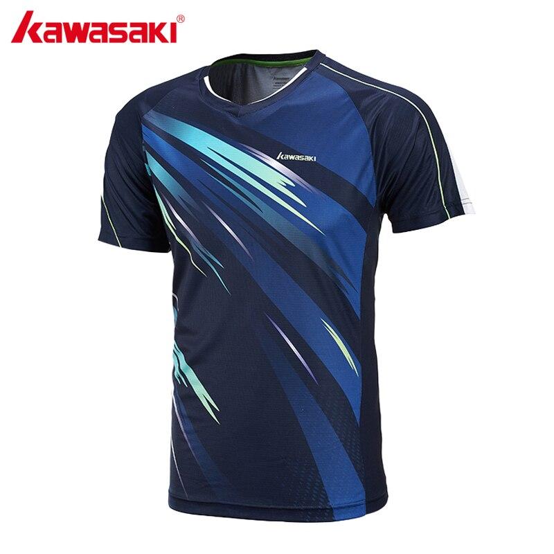Kawasaki Men Tennis T-Shirts Super Light Short-sleeved V Collar Professional Badminton Shirts For Male Sports Running ST-171004
