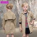 2017 новая весна девушка детская одежда пределами девушки модные куртки 100% хлопок пункт с длинными рукавами твердые пальто