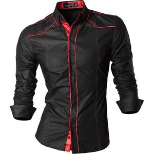 Image 1 - جانيسيان ربيع الخريف الميزات قمصان الرجال جينز غير رسمي قميص جديد وصول طويلة الأكمام عادية سليم صالح قمصان الذكور Z034
