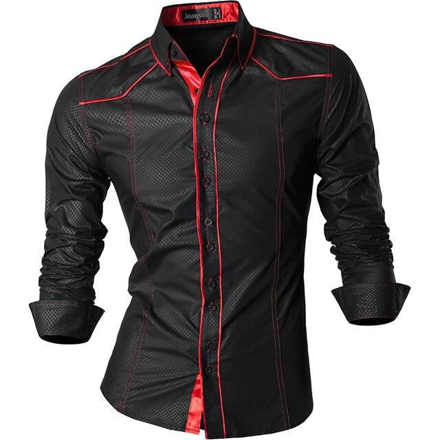 Jeansian wiosna jesień cechy koszule męskie spodnie na co dzień koszula nowy nabytek z długim rękawem Casual Slim Fit koszule męskie Z034
