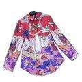 2015 новый стиль сша мода роскошные красочный печатных блузка и полный рукав женщин дизайнерские футболки Большой размер XL