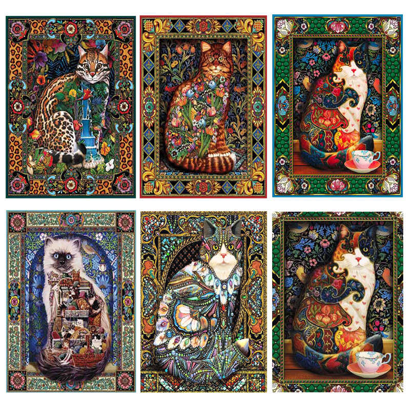 DIY Diamond Painting Cross Stitch Flowers 5D Needlework Mosaic Full Square Drill Icon Diamond Embroidery Cat Decor Painting XU