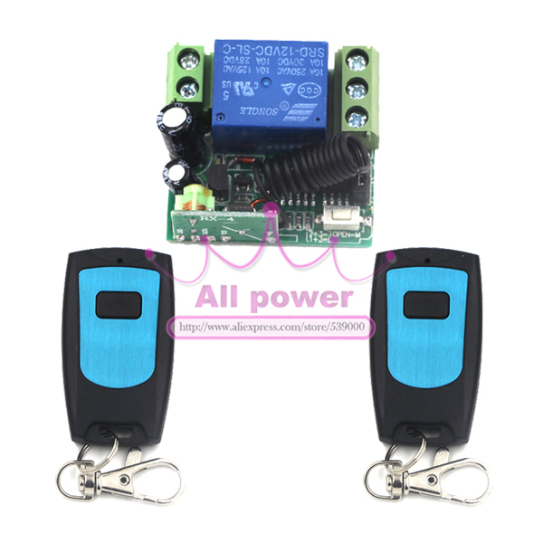 DC 12V 1 CH Switch, 1CH RF Wireless Remote Control Switch System,315/433 MHZ 2 Transmitter And 1 Receiver dc 12v 1 ch switch 1ch rf wireless remote control switch system 315 433 mhz 2 transmitter and 1 receiver